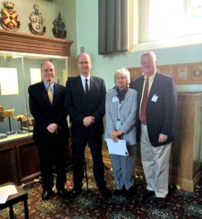 """Members of a panel (""""The End of the War and its Aftermath) held in the Indian Army Room at Old College RMAS. (L-R) Dr. James Perry, independent scholar; Dr. Klaus Schmider, RMAS; Dr. Jill Edwards, American University at Cairo; Dr. Ray Batvinis"""