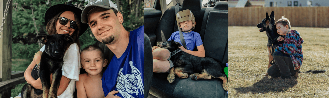 Jessica Smith's son Corbin recovered from a traumatic brain injury with the family's dog Marshall by his side.