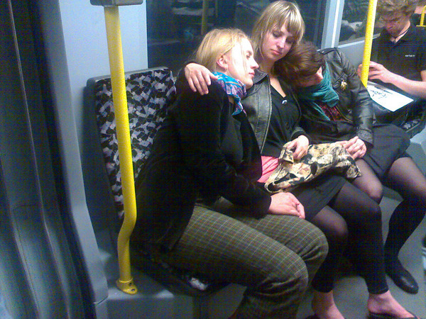 sleepy on the tram