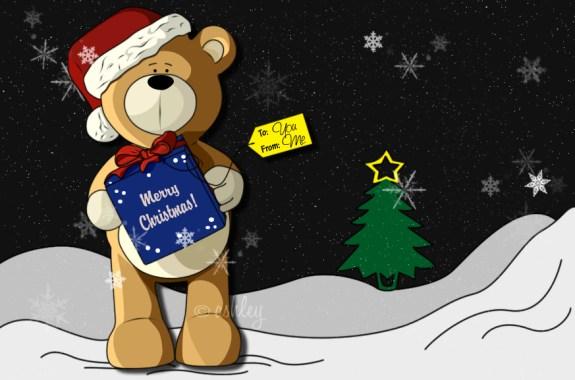 Teddy's Present, High Quality Christmas Wallpaper