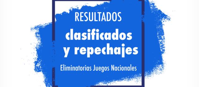Resultados Eliminatorias Juegos Nacionales: Clasificados y Repechajes.