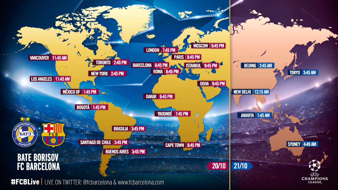 barca vs bate timing