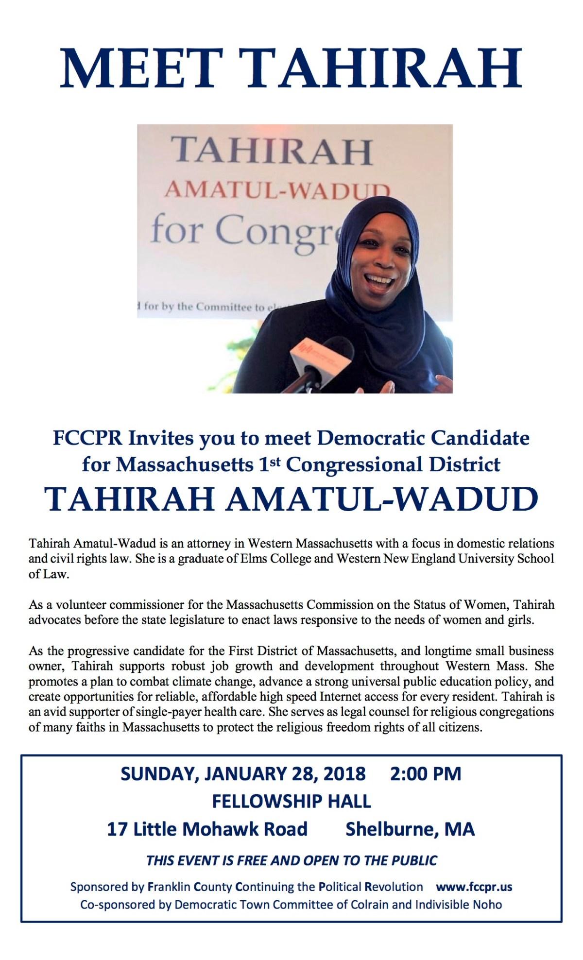 Meet Tahirah Amatul-Wadud, Democratic Candidate for Massachusetts 1st Congressional District