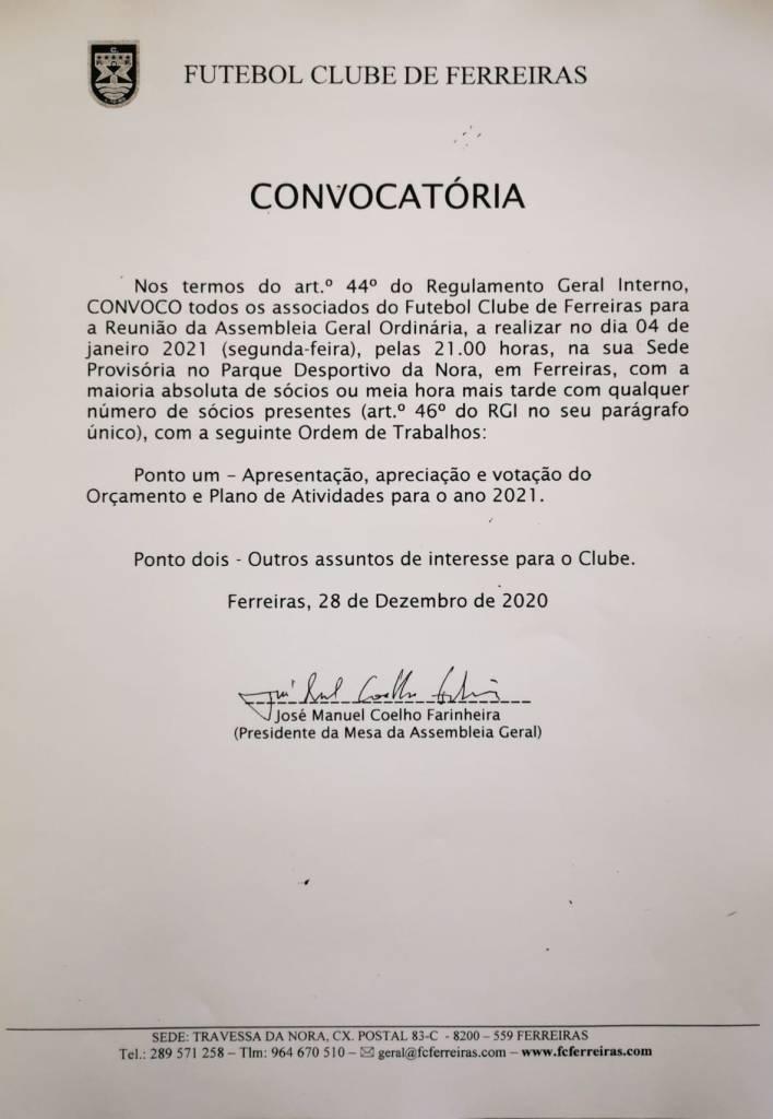 Convocatória 04 Janeiro 2020