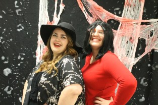 Seniors Katelyn Bartley as a witch (left) and Analise Book as Linda Burger (right).