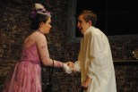 Junior Allie Lincoln (Mrs. Kendal) shakes hands with sophomore Noah Hankins (John Merrick) after their first visit.