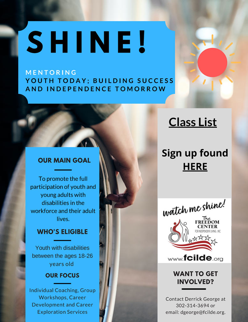 SHINE! Flyer for Class Registration for January 2021 class and other dates
