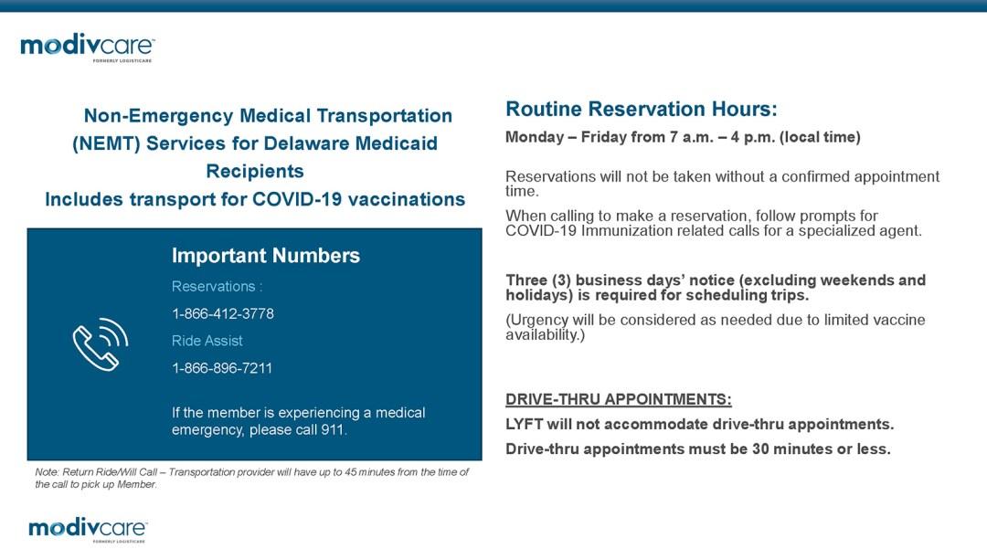 Modivcare Flyer - Non-Emergency Medical Transportation Services for DE Medicaid Recipients.