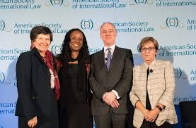 [from left to right] ASIL President Lucinda A. Low, Dean of American University Washington College of Law, Camille A. Nelson, Harvard University Professor and 2017 Grotius Lecturer, David Armitage, and Emory Law Professor and Distinguished Discussant, Mary L. Dudziak