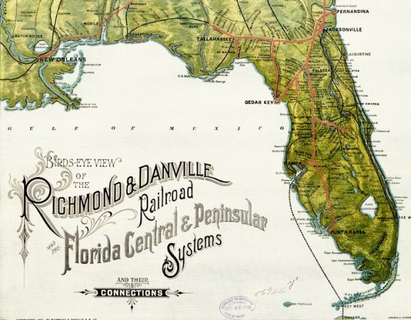 Rail Road Map of Florida  1893