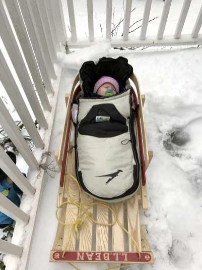 Five-month-old Skyler Bjerke enjoying the snow Tuesday. (Photo: Annika Bjerke)