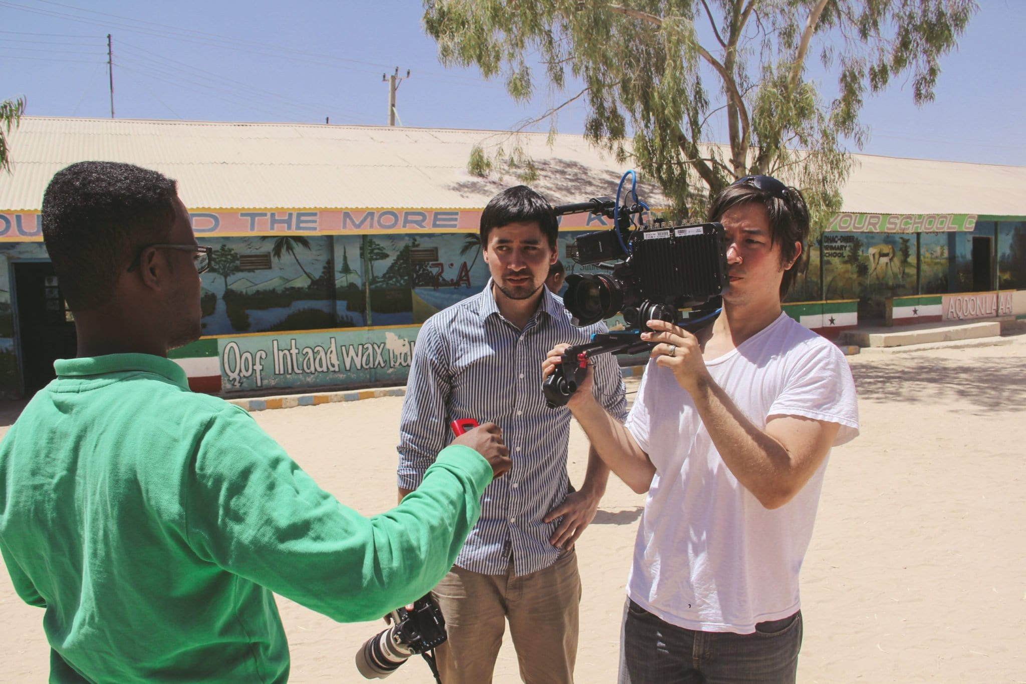 """Filmmakers Harry Lee (center) and Ben Powell interview Abdisamad, an Abaarso student, in """"Somaliland."""" (Photos: Somaliland Film)"""