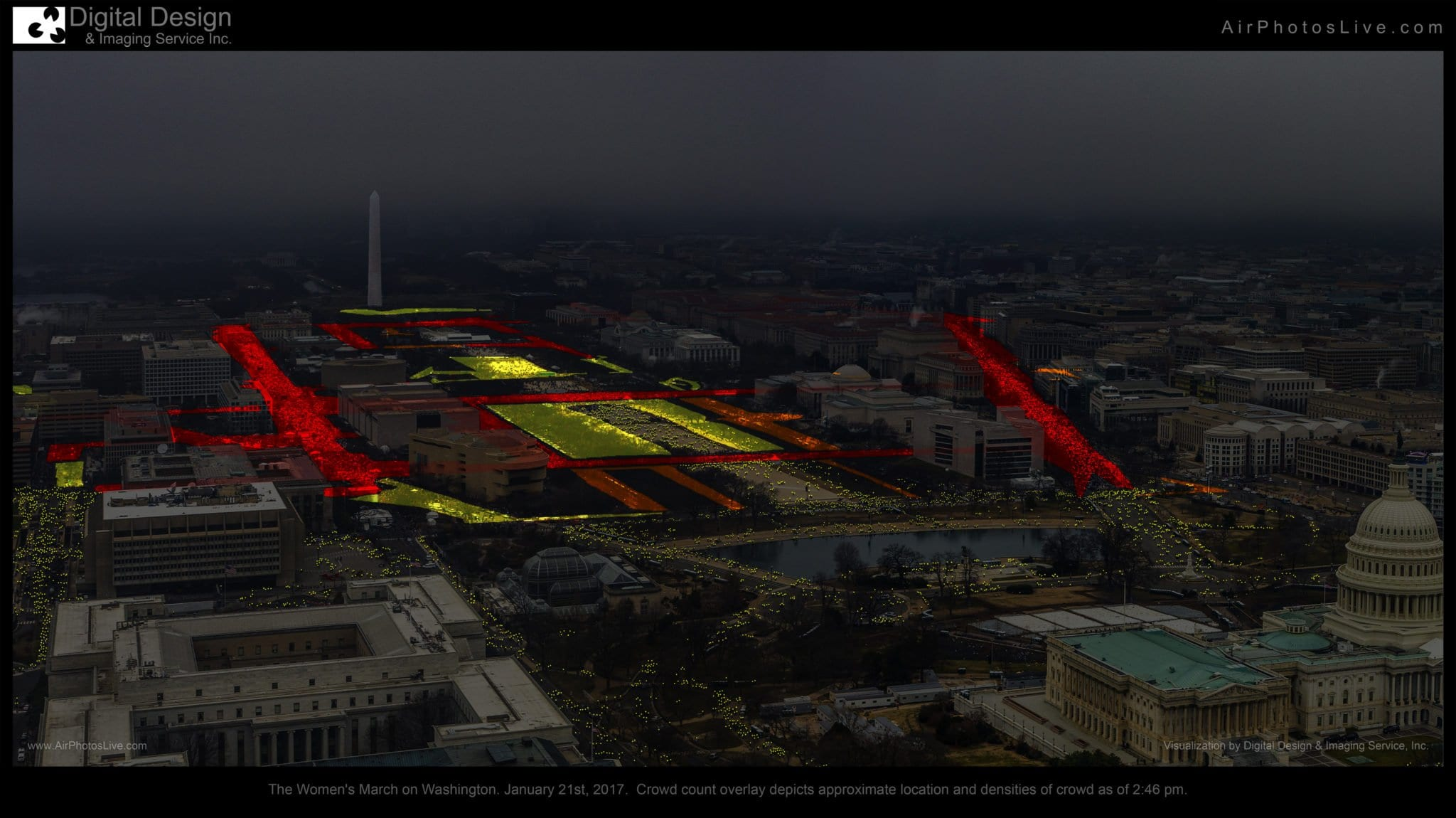 The Women's March on Washington. January 21, 2017. Crowd count overlay depicts approximate location and densities and crowd as of 2:46 p.m. (Digital Design & Imaging Service, Inc.)