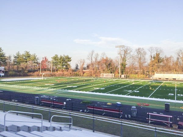 The new synthetic turf field at George Mason High School was completed in December 2015. F.C. Recreation and Parks Director Danny Schlitt said the lifetime of the old turf was gone. (Courtesy Photo)