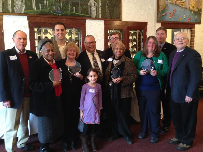 The Falls Church City Republican Committee honored five local citizens yesterday at a reception at the Italian Cafe on Lee Highway. Holding their awards (l to r) are Margarette Shovlin, Lindy Hockenberry, Nikki Henderson (with her husband and co-award recipient, Ed and Betty Coll. (Photo: Ken Feltman)