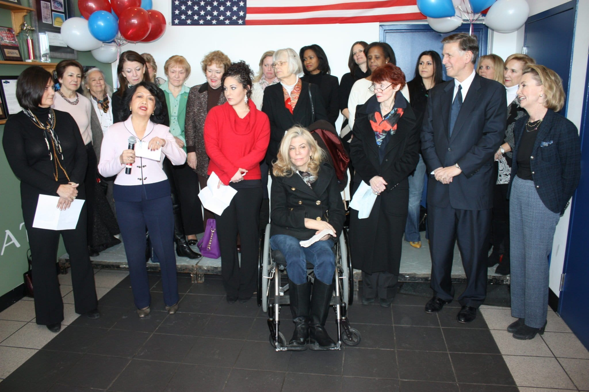IN A CAMPAIGN KICK-OFF rally at his Falls Church car dealership, U.S. Congressional candidate Don Beyer was accompanied by a large delegation of important women in leadership roles in the 8th District who are supporting him for election in the June 10 primary. (Photo: News-Press)
