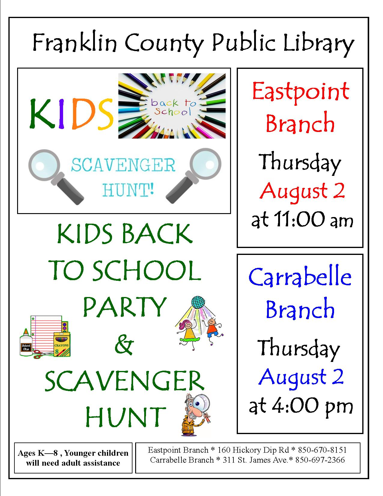 Back To School Party And Scavenger Hunt Aug 2 Franklin