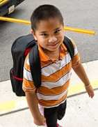 Photo of young boy wearing a backpack