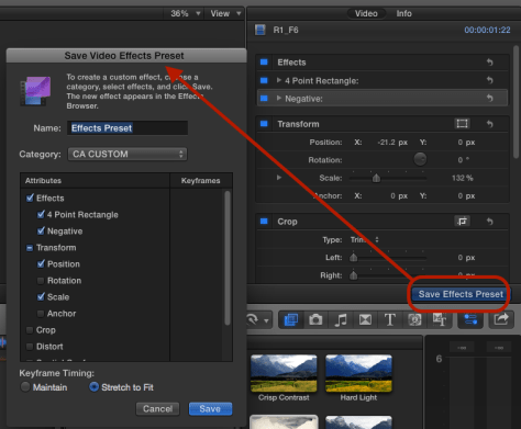 saving custom presets in FCPX 10.2
