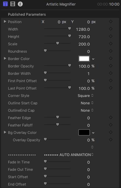Artistic Magnifier parameters