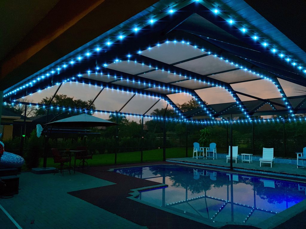 pool cage enclosure lighting first