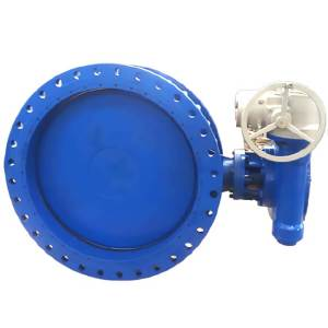 Blue large diameter butterfly valve with first wheel
