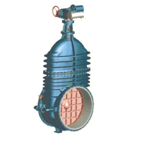 Light blue non-rising 1200 gate valve on white background