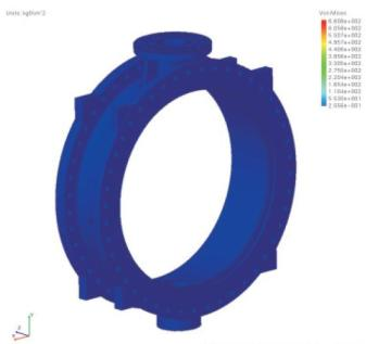 FCV Finite element analysis diagram of DN4800 hydraulic control butterfly valve body