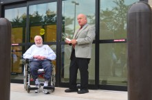 Fond du Lac County Executive Allen Buechel introduces Mel Heller to cut the ribbon