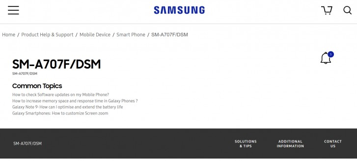 Samsung's Galaxy A70s support page goes live ahead of launch, specs revealed on TENAA