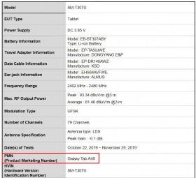 Samsung Galaxy Tab A4S FCC listings