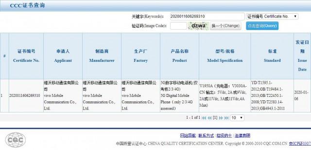 vivo iQOO 3 5G certification
