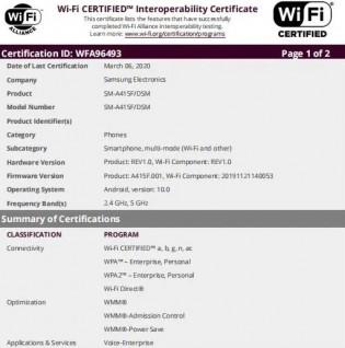 Galaxy A41 Bağlantı sertifikaları