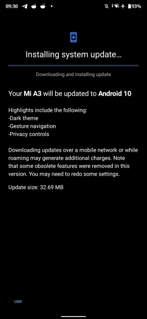 Xiaomi Mi A3 once again is receiving Android 10 update