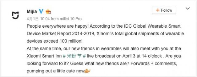 Pos Mijia Weibo mengkonfirmasikan wearable baru