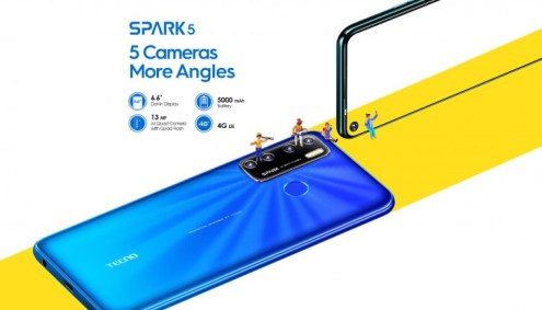 "Tecno Spark 5 unveiled with Android 10, 6.6"" screen, quad camera ..."