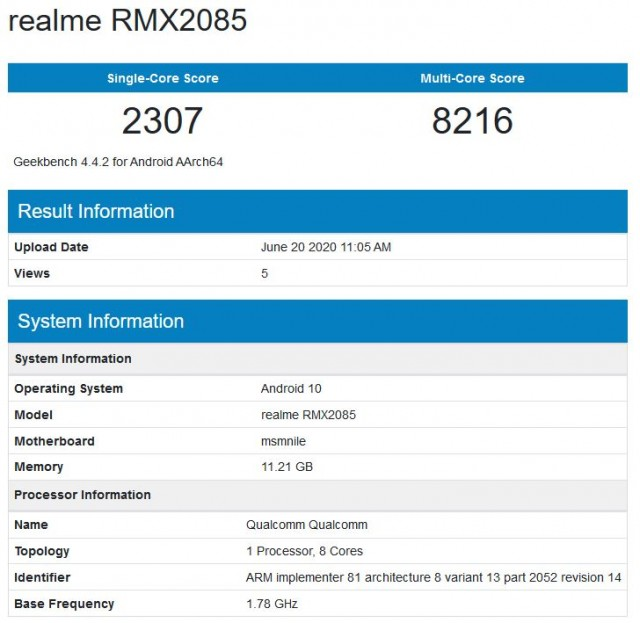 Realme X3 spotted on GeekBench