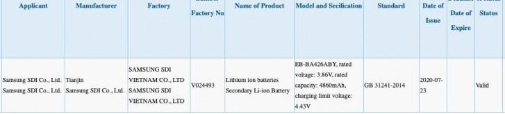 Samsung Galaxy A42 5G, 5.000 mAh pil ile tespit edildi