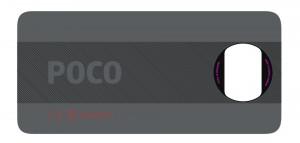 Bagian belakang ponsel Poco dengan kamera utama 64 MP (skema oleh FCC)