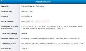 TÜV Rheinland'ın RMX2170 sertifikası, belki de Realme X3 Pro