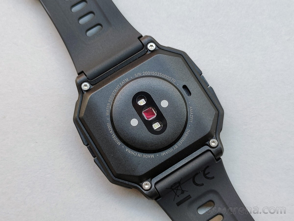 Charging connectors and PPG Bio-Tracking Optical Heart Rate Sensor on Amazfit Neo