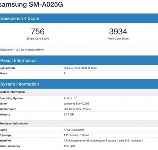 Samsung Galaxy A02s pe Geekbench