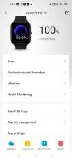 Amazfit Bip U data and settings in Amazfit's Android app