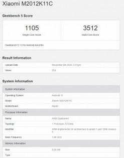 Xiaomi M2012K11C with Snapdragon 875 on Geekbench