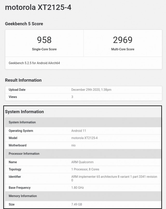 Motorola Nio Geekbench scorecard
