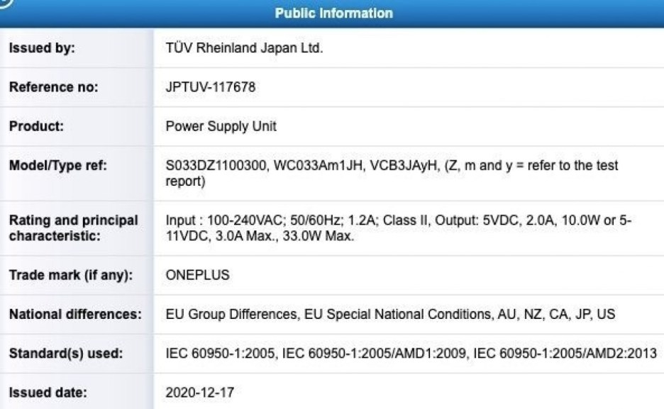 OnePlus certifies a 33W charger, a sign of another midranger?