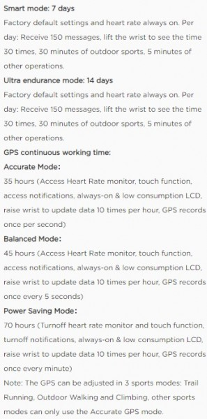 Stratos 3's battery endurance in different modes