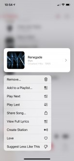 """Old Music app menu (<a href=""""https://www.reddit.com/r/iOSBeta/comments/lla31d/feature_ios_145_beta_2_menus_in_music_are_now/"""" target=""""_blank"""" rel=""""noopener noreferrer"""">image credit</a>)"""