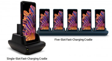 KOAMTAC charging cradles for one phone + spare battery or multiple phones (shown with Xcover Pro)