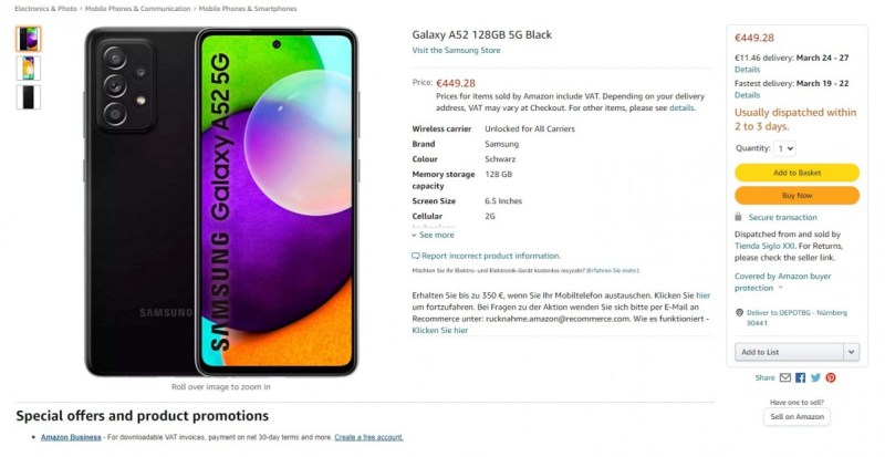 Samsung Galaxy A52 5G listed by Polish and German retailers at higher than expected price
